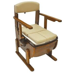 家具調ポータブルトイレ スリムレットEX 肘掛固定タイプ 標準便座 ウェルファン