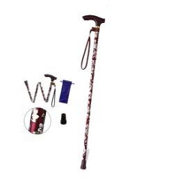 ハッピーステッキ(折りたたみ杖高さ調節付)EOP-105 ワイン 幸和製作所