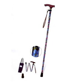 プリント柄ピッチ付折りたたみ式杖 E-268D 幸和製作所