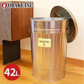 【OBAKETSU】ゴミ袋ホルダー付オバケツ GHM45(42Lサイズ・シルバー)
