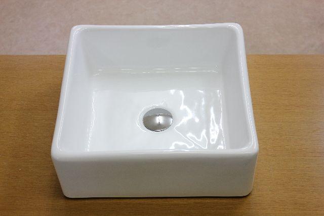 洗面ボウル(洗面ボール 手洗い鉢)+排水栓、排水Sトラップ セット おしゃれ 洗面器 洗面台 洗面化粧台 手洗い器 手洗いボウル 陶器 洗面ボウル KORS-1279角型