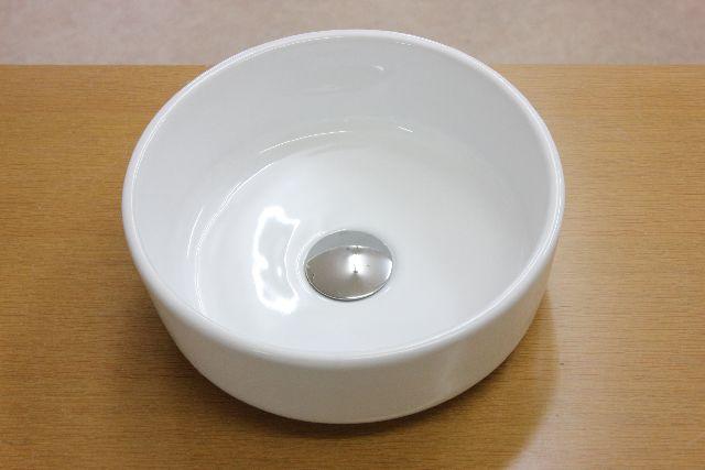 洗面ボウル(洗面ボール 手洗い鉢)+排水栓、排水Sトラップ セット おしゃれ 洗面器 洗面台 洗面化粧台 手洗い器 手洗いボウル 陶器 洗面ボウル KORS-1140丸型