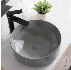 洗面ボウル(洗面ボール 手洗い鉢)+排水栓、排水Sトラップ セット おしゃれ 洗面器 洗面台 洗面化粧台 手洗い器 手洗いボウル 陶器 洗面ボウル KORS-1330MG グレー