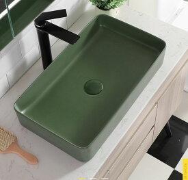 洗面ボウル(洗面ボール 手洗い鉢)+排水栓、排水Sトラップ セット おしゃれ 洗面器 洗面台 洗面化粧台 手洗い器 手洗いボウル 陶器 洗面ボウル KORS-1061BMGR 角型 マットグリーン