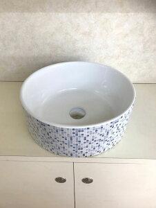 洗面ボウル(洗面ボール 手洗い鉢)+排水栓、排水Sトラップ セット おしゃれ 洗面器 洗面台 洗面化粧台 手洗い器 手洗いボウル 陶器 洗面ボウル KORS-1414B-1