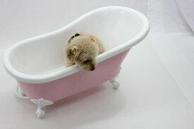 ペット用バスタブ ペットバス 犬 バスタブ 小型 猫足バスタブ 浴槽 猫脚バスタブ 幅750 人工大理石製 浴槽 バスタブ 浴そう お風呂 置き型 ペット用品 犬用品 猫足バスタブ KOA-B109P(ピンク)