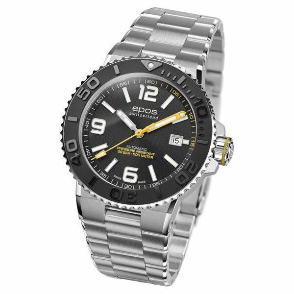 EPOS SPORTIVE エポス スポーティブ 3441ABKM ダイバーズ 500m防水 自動巻 機械式 メンズ腕時計 国内正規品 送料無料 メーカー正規2年間保証付