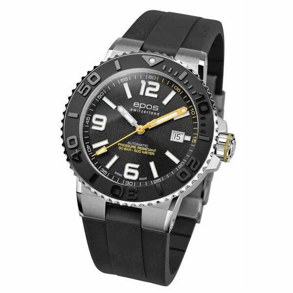在庫限り! 期間限定スペシャルプライス EPOS SPORTIVE エポス スポーティブ 3441ABKR ダイバーズ 500m防水 自動巻 機械式 メンズ腕時計 国内正規品 送料無料 メーカー正規2年間保証付