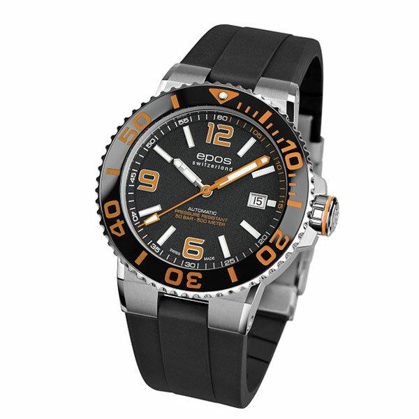 EPOS SPORTIVE エポス スポーティブ 3441ABKORBKR ダイバーズ 500m防水 自動巻 機械式 メンズ腕時計 国内正規品 送料無料 メーカー正規2年間保証付