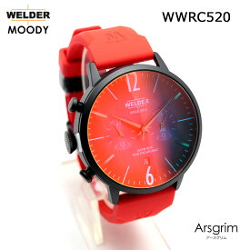 絶対目立つ腕時計新作ウレタンレッドバンド【国内正規品】WELDER MOODY WWRC520 DUAL TIME ウェルダー ムーディー 腕時計 ケースサイズ45mm 送料無料 インスタ映え SNS映え おしゃれ