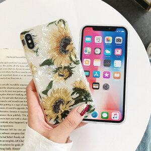 iPhone11 ケース iPhone8 ひまわり フラワー 花柄 iPhone11 11pro Max XR X plus7 8 SE アイフォンケース シンプル 韓国