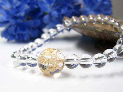 ブレスレット 黄金龍模様入り 水晶 12mm玉AAA 水晶6mm玉AAAパワーストーン 天然石 レディース メンズ