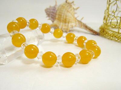 ブレスレット オレンジカルサイト 10mm玉・平珠水晶パワーストーン 天然石 レディース メンズ ○ten○