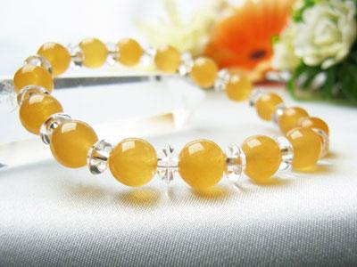 ブレスレット オレンジカルサイト8mm玉・平珠水晶 パワーストーン 天然石 レディース メンズ