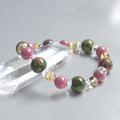 ブレスレット ユナカイト ロードナイト シトリン 平珠水晶 パワーストーン 天然石 レディース メンズ