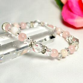 ブレスレット ピンクオパール6mm ローズクォーツ6mm 水晶8mm カット水晶6mm カット平珠水晶 パワーストーン 天然石 レディース メンズ