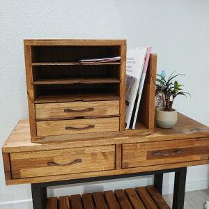 ちょっとした本棚が便利!アンティーク調レターケース 【ブックスタンド 木材 完成品 おしゃれ 卓上 北欧 ヴィンテージ】
