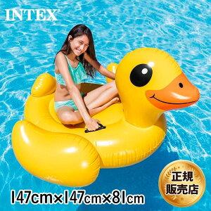 INTEX/インテックス フロート イエローダックライドオン 57556 浮き袋 うきわ 乗り物 あひる プール ビーチ 海水浴 対象年齢 :3才以上 147×147×81cm