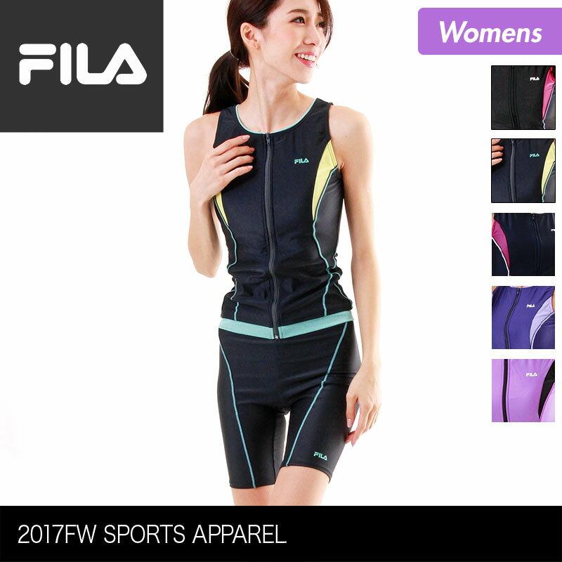 FILA/フィラ レディース フィットネス水着 上下2点セット 347-207 上下セット みずぎ スイムウェア ジップアップ ノースリーブ フィットネスウェア 体型カバー 女性用