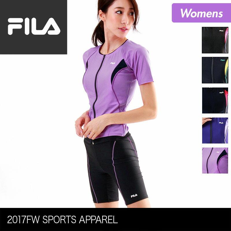 FILA/フィラ レディース フィットネス水着 上下2点セット 347-208 上下セット みずぎ スイムウェア ジップアップ 半袖 フィットネスウェア 体型カバー 女性用