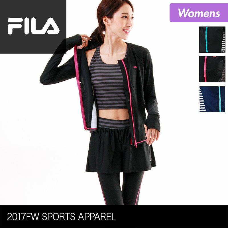 全品最大P10倍 FILA/フィラ レディース フィットネス水着 4点セット 347-210 ラッシュガード レギンス スカート 長袖 ジップアップ フィットネスウェア 体型カバー 女性用