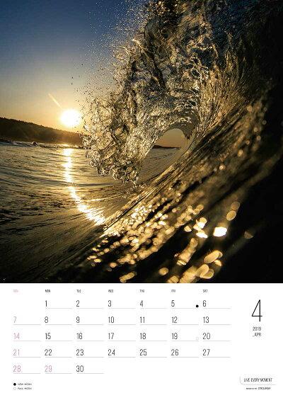 サーフカレンダーPhotographerU-SKE2019年度版カレンダー壁掛けタイプA4版ポストカードプレゼント