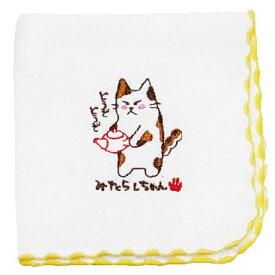 お茶屋の看板ネコみたらしちゃんシリーズ 日本製綿100%タオルハンカチ23cmx23cm 急須編