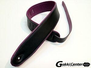 RENEGADEギターストラップSuperDeluxeRolledEdgeLeather,NeopreneInsert.Black/Purple