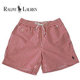 ラルフローレン 水着 海パン RALPH LAUREN ポロ POLO メンズ 紳士用 スイムウェア ショーツ サーフ ハーフパンツ ストライプ 赤 レッド