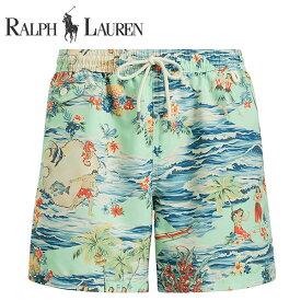 ラルフローレン 水着 海パン POLO RALPH LAUREN ポロ メンズ 紳士用 スイムウェア ショーツ サーフ ハーフパンツ ハワイアン アロハ ライトグリーン