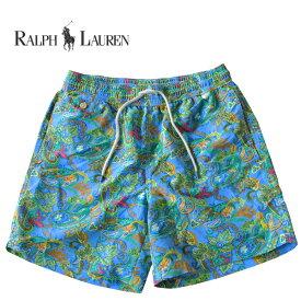 ラルフローレン 水着 海パン POLO RALPH LAUREN ポロ メンズ 紳士用 スイムウェア ショーツ サーフ ハーフパンツ ライトブルー ペイズリー