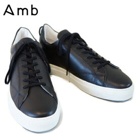 【送料無料】Amb(エーエムビー)レディース ローカット レザースニーカー BLACK 【9838 ARCHY】