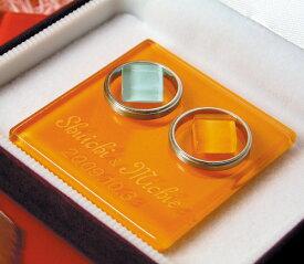 リングピロー名前彫刻入り高級スエード調ジュエリーケース(ワインレッド)入りガラスのリングピロー(オレンジ)レギュラー【RCP】