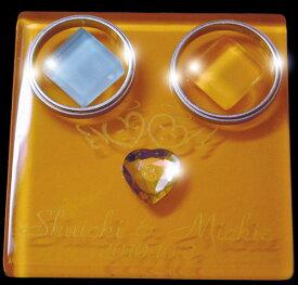 リングピロー名前彫刻入り高級スエード調ジュエリーケース(ワインレッド)入りガラス(オレンジ)のリングピローダブル天使【RCP】