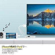 iPhoneテレビ接続ケーブルスマホiPhoneHDMI変換ミラーリングナビプロジェクター有線TV出力アイフォンYoutubeiPadアクセサリーアイフォンカーナビテレビで見る