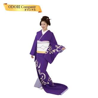 没有舞蹈和服跳舞下摆拉缝制上比翼的紫色地文学字花纹30-74