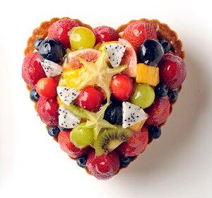 バースデーケーキ 誕生日ケーキ フルーツケーキ 記念日ケーキ ハート型ミックスフルーツタルト お誕生日ケーキ、バースデーケーキ用に! 記念日