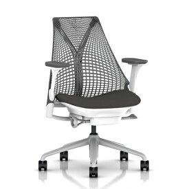 【HermanMiller】SAYL Chair(セイルチェア)サスペンションミドルバック/フルアジャスタブルアーム/ベース:フォグ/フレーム:ホワイト/サスペンション:スレートグレー/アームパッド:スレートグレー/座面カラー:グラナイト(ファブリック・コスモス)