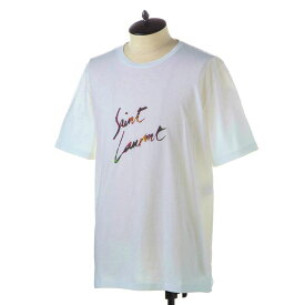 サンローラン パリ Tシャツ メンズ SAINT LAURENT 553438 YBCL2 8486 NATUREL-MULTICOLORE 誕生日 ブランド かっこいい プレゼントにも 高級 20代 30代 40代 50代 60代