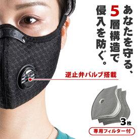 プロテクションマスク 逆止弁バルブ付き マスク ウイルス対策 花粉対策 5層構造 フィルター 花粉 ウイルス フィルター3枚付属 洗える 耳が痛くなりにくい 交換可能フィルター 繰り返し使えるメガネが曇らない