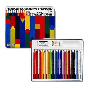 18色セット 色鉛筆 クーピー 缶入り 削り器・消しゴム付き サクラクレパス EC-FY18