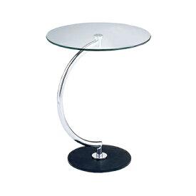 BRASS(ブラス) サイドテーブル クリアガラス 円形 幅460×奥行460×高さ555mm モダン ホーム 家具 リビング