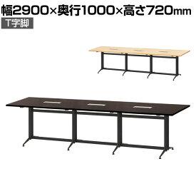 【法人様限定】大型 会議用テーブル T字脚 2900×1000mm 配線ボックス付き フリーアドレスデスク オフィスデスク 事務机 会議テーブル ミーティングテーブル 会議机 会議室 会議デスク 打ち合わせ 商談 幅290cm