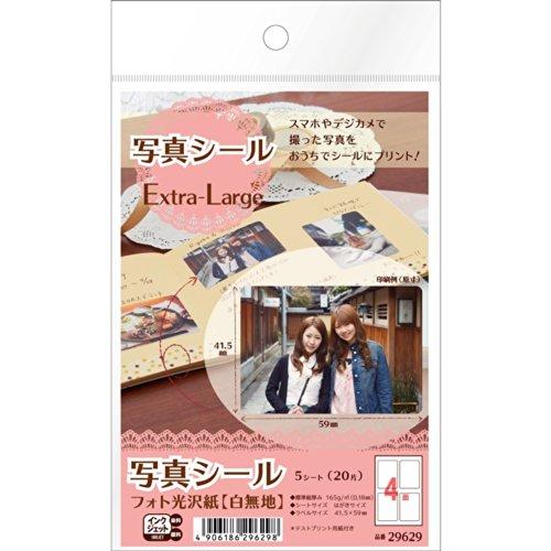 エーワン 写真シール フォト光沢紙 4面 5シート 29629(5セット)