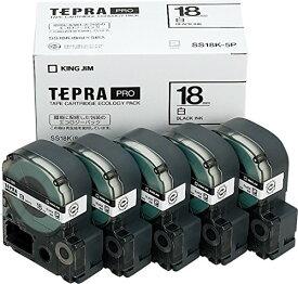 【6543円×10セット】テプラ・プロ テープカートリッジ プロテープエコパック 白ラベル 黒文字 SS18K-5P キングジム 4971660763283(10セット)