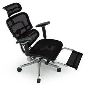 Ergohuman エルゴヒューマンチェア プロ オットマン内蔵 イス 椅子 エラストメリックメッシュ ハイタイプ ブラック