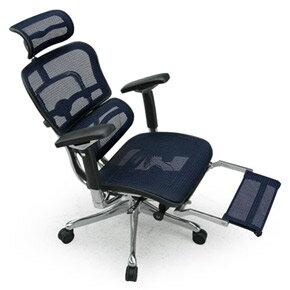 Ergohuman エルゴヒューマンチェア プロ オットマン内蔵 イス 椅子 エラストメリックメッシュ ハイタイプ ブルー