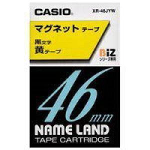ネームランド マグネットテープ 黄 XR-46JYW [黒文字 46mm×1.5m]