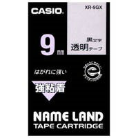 カシオ計算機 強粘着テープ XR-9GX 透明に黒文字 9mm