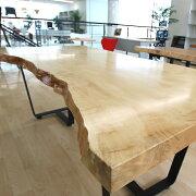 [新入荷]OFFICEPORTALオリジナル一枚板テーブルW1900栃の木オフィス向け会議テーブル